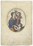 Madonna with Child and angel in oval