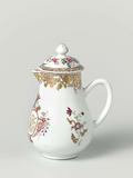 Pear-shaped milk jug with handle from the 'Swellengrebel service' with a double crowned monogram and a border with …