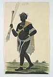 Man holding three assegais and a knobkerrie