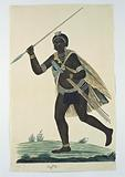 Running man holding an assegai in his right hand and four assegais in his left