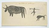 Copies after San rock-paintings of an ox, a baboon, and a man