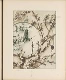 Decorative group with cherry plums, almond blossom and a bird