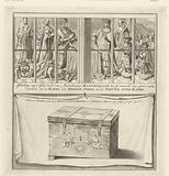 Stained glass window of Maximilian I and the chest in which the miraculous wafer was kept