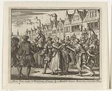 Anneken Jans gives her child to a bakery for care on the way to the execution site in Rotterdam, 1539