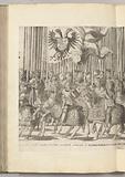 Landsknechten with the Habsburg banner and Italian nobles, plate (KK)