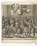 Landsknechten with the Habsburg standard and Italian nobles