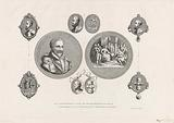 Commemorative medal on the offering of the Invocation, Geuzen medals and the seal of the covenant letter of the …