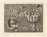 Two vases of scroll work with fruits