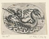 Lying oval with putto on sea creatures