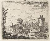 Italianate landscape with round tower and two goats