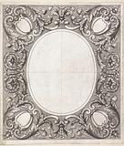 Ceiling decoration with an empty oval field in the middle