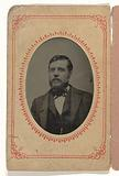 Portrait of a man, United States, in a paper passe-partout with advertising text for clothing (Jackson's Home-Made …