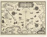 Map of the countries around the Arctic Circle with the three voyages of the Dutch, 1598