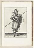 The exercise with shield and spear: the soldier positions the spear for towing in two times, first movement, 1618.