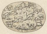Oval with thirteen goats