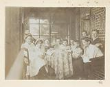 The children and youngsters of the Kessler family on the balcony of the holiday home, probably in the Harz.