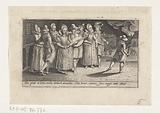 Groups of lovers walk by torchlight and accompanied by music through the street, c 1610