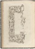 Half list with two putti playing on musical instruments