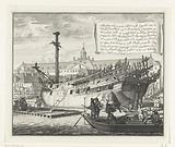 Partly burnt ship at the VOC shipyard in Oostenburg, 1690