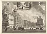 Demonstration of the hose fire sprayers at the City Hall on Dam Square, ca 1700