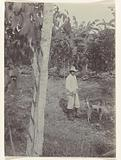 Plantation owner with dogs at plantation Accaribo in Suriname