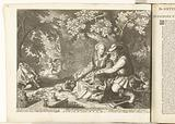 Death and Cupid shoot each other's arrows and old man courting young woman, c 1707–1708