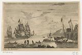 Harbor with two large sailing ships