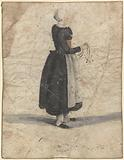 North Holland woman standing with an ornament or bag in hand