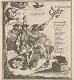 A wind trader sits on a bag of shares held high only by the wind, 1720