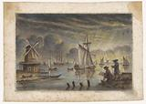Coastal view with ships, windmill and a draftsman