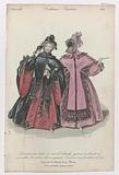 Journal des Dames et des Modes, Costumes Parisiens, fevrier 1835. Dominos and satin (…).