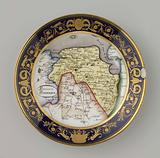 Plate with a topographical image of the province of Groningen