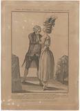 Gallerie des Modes et Costumes Français, 1778. Tailleur costumier essayant un cor de la mode.