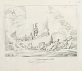Napoleon stands triumphantly on his ship surrounded by sea creatures and angels