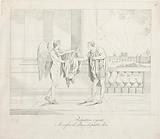 Winged figure hands a cloak to Napoleon
