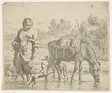 Woman and donkey stand in shallow water, a dog jumps up at her feet
