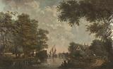 Three wall hangings with a Dutch landscape