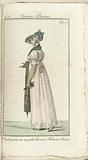 Journal des Dames et des Modes, Costume Parisien, 1805, An 13 Capote parée, sur un petit Bonnet…