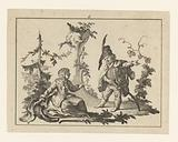 Seated woman with a standing man with pipe on a rococo ornament next to her