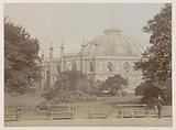 Stables belonging to the Royal Pavillion in Brighton with a park in front of it