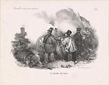 Belgian insurgent 'La Jambe de bois' behind a cannon, 1830