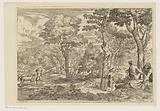 Forest landscape with satyrs