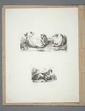 Blad met twee voorstellingen: boven drie liggende schapen en een onder een viertal honden.