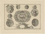 Ornament with Venus trying to stop Adonis from hunting and various round ornaments