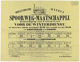 Hollandsche IJzeren Spoorweg-Maatschappij. Announcement of Departure Hours, for the winter service..