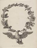 Greeting letter with wreath and eagle