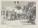 Reception of the emperor of Russia by King William III at the train station in Amsterdam, 1874
