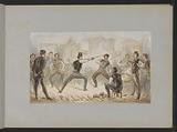 Sword fight between two men