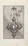 Chandelier with personifications of Hope and Faith and papal weapon