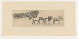 Three draft horses and the load of a hay wagon